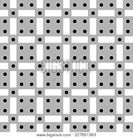 Vector Illustration Abstract Background Seamless Image Of Black Circles, Gray Squares And White Rect