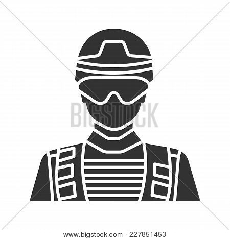 Soldier Glyph Icon. Military Man. Silhouette Symbol. Negative Space. Vector Isolated Illustration