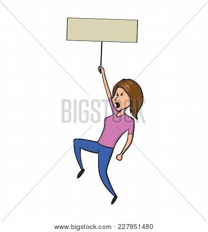 Young Woman Holding Blank Protest Sign. Vector Illustration, Isolated On White Background.
