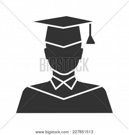 Graduate Student Glyph Icon. Person In Academic Dress. Silhouette Symbol. Negative Space. Vector Iso