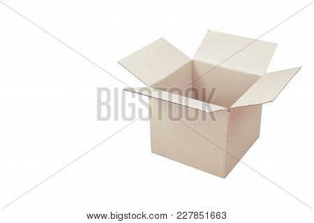 Postage And Packing Service - Open Package Isolated On A Blue Wood Background.
