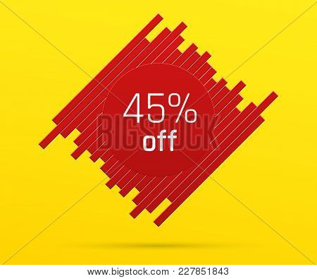 Sale Banner With 45 Percent Off. Offer Of Price Discount On Figure Consisting Of Bars With Metallic