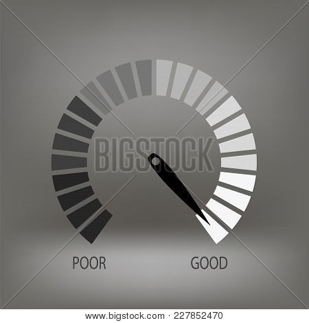 Credit Raiting Meter Icon On Blurred Grey Background. Gauges Scale With Black Arrow