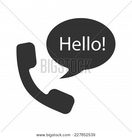 Handset And Speech Bubble With Hello Inside Glyph Icon. Talk Silhouette Symbol. Negative Space. Vect