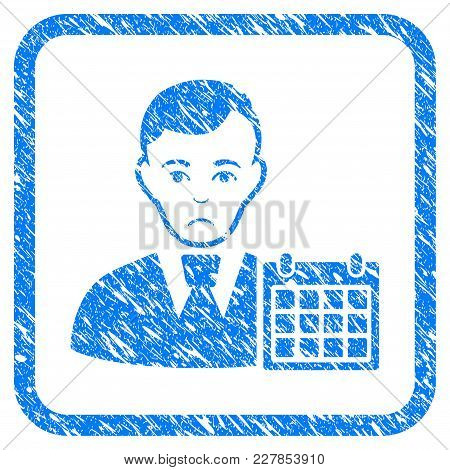 User Calendar Rubber Seal Stamp Imitation. Icon Vector Symbol With Grunge Design And Unclean Texture