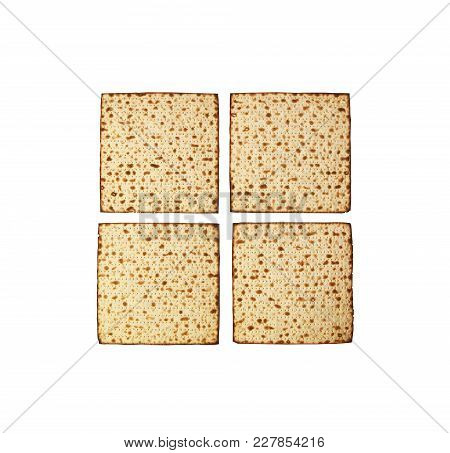 Matzah Isolated On White, Jewish Traditional Passover Bread, Top View. Pesach Celebration Symbol. Pa