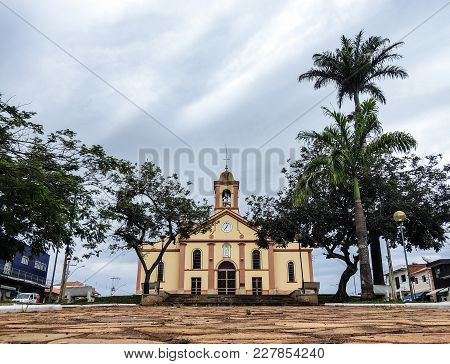 Church In A Public Square In A Small City