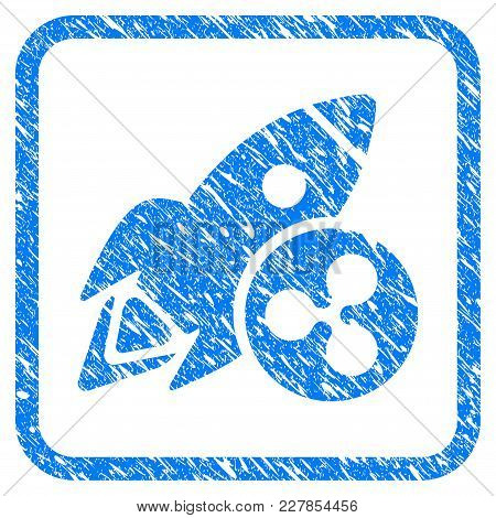 Ripple Rocket Rubber Seal Stamp Watermark. Icon Vector Symbol With Grunge Design And Unclean Texture