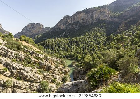 Hiking Trail Caminito Del Rey.view Of Gorge Of Gaitanes In El Chorro. Malaga Province. Spain.