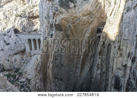 View From A Mountain Hiking Trail Caminito Del Rey. El Chorro. Province Of Malaga. Spain.