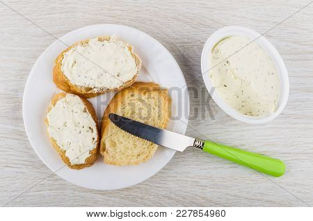 Sandwiches With Curd Cheese With Greens, Curd Cheese In Box, Knife On Wooden Table. Top View