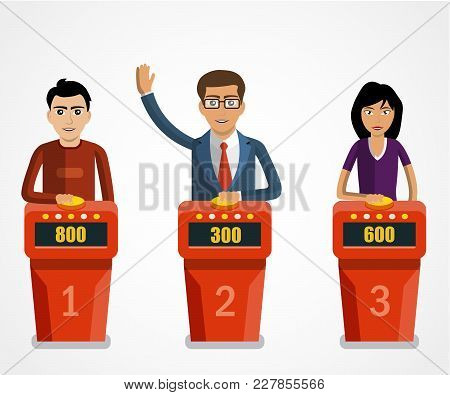 Quiz Show, Game Modern Concept. Players Answering Questions Standing At Stand With Buttons. Vector F