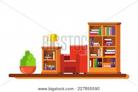 Cozy Living Room Interior. Includes A Bookcase, An Armchair, A Curbstone, A Table Lamp, A Potted Pla
