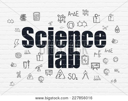 Science Concept: Painted Black Text Science Lab On White Brick Wall Background With  Hand Drawn Scie