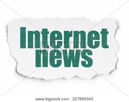 News Concept: Painted Green Text Internet News On Torn Paper Background With  Hand Drawn News Icons