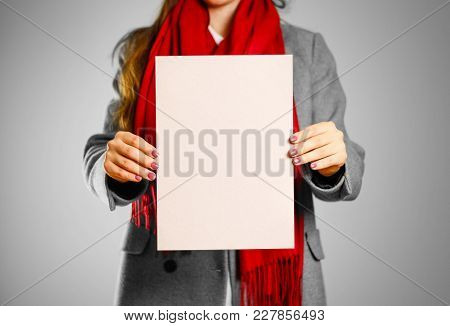 A Girl In Grey Coat And Red Scarf Keeps A Beige Clean Blank Sheet Of A4. Isolated On Grey Background