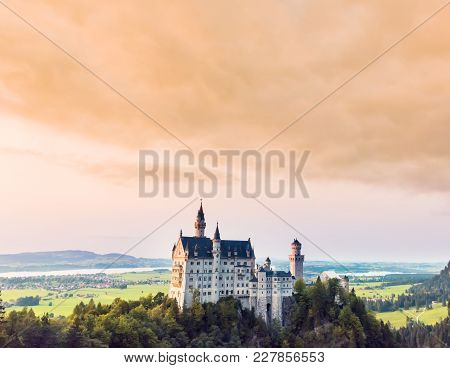Beautiful Aerial View Of Neuschwanstein Castle In Summer Season. Palace Situated In Bavaria, Germany