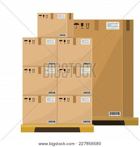 Different Boxes On Wooded Pallet Vector Illustration, Flat And Solid Style Warehouse Cardboard Parce