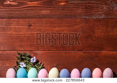 A Festive Easter Composition. View From Above. Concept Of The Spring And The Feast Of The Passover