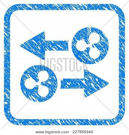 Ripple Transaction Arrows Rubber Seal Stamp Watermark. Icon Vector Symbol With Grunge Design And Dir