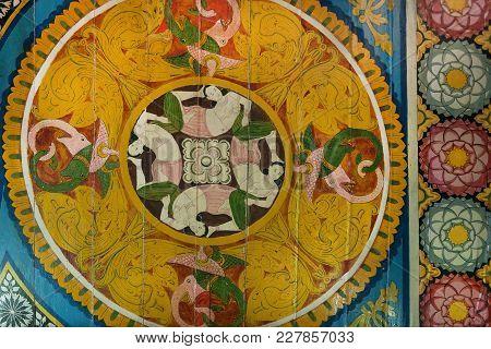 Kandy Sri Lanka - Jan 6, 2017: Asian Women And Myth Animals On Ceiling Of Ancient Buddhist Temple Wi