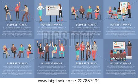 Business Training Seminars Set Of Posters With Co Workers Taking Part At Conference Discussions And