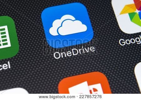 Sankt-petersburg, Russia, February 22, 2018: Microsoft Onedrive Application Icon On Apple Iphone X S