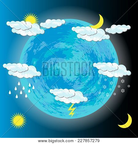 World Meteorological Day. Image Of The Earth, Clouds, Sun, Moon, Rain, Snow, Lightning For Banners F