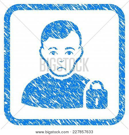 User Locked Rubber Seal Stamp Imitation. Icon Vector Symbol With Grunge Design And Dirty Texture In