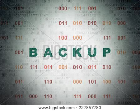 Software Concept: Painted Green Text Backup On Digital Data Paper Background With Binary Code