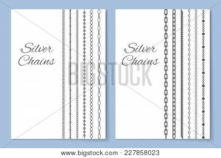 Shiny Silver Chains Vertical Advertisement Banner. Accessory Made Of Precious Metal Isolated Cartoon