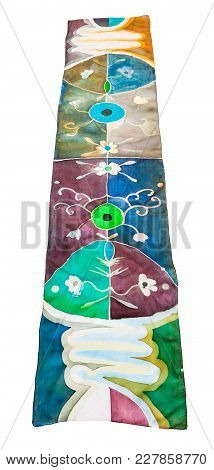 Front View Of Hand Painted Batik Silk Scarf With Abstract Floral Pattern Isolated On White Backgroun