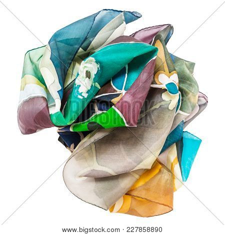 Crumpled Hand Painted Batik Silk Scarf With Abstract Floral Pattern Isolated On White Background