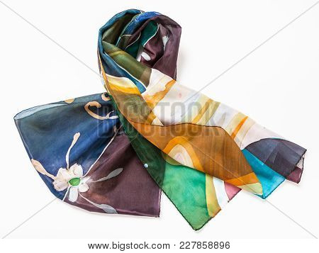 Folded Hand Painted Batik Silk Scarf With Abstract Floral Pattern On White Background