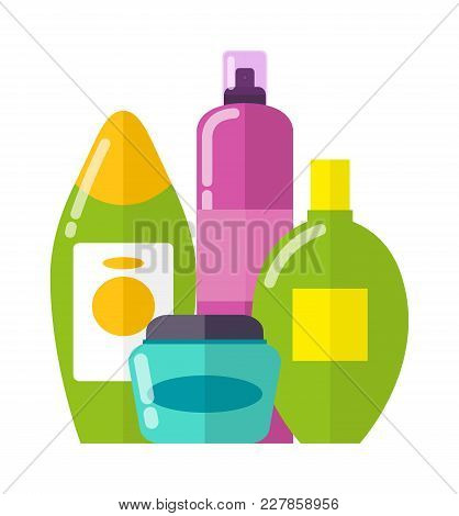 Set Of Colorful Care Products Vector Illustration Of Blue Vial With Cream, Two Green Shampoo Bottles