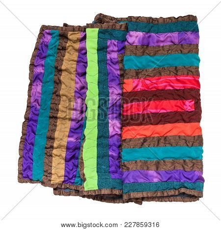 Folded Stitched Patchwork Scarf From Silk Strips Isolated On White Background