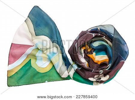 Rolled Hand Painted Batik Silk Scarf With Abstract Floral Ornament Isolated On White Background