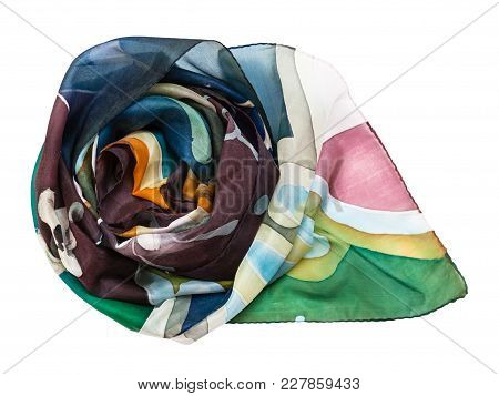 Rolled Hand Painted Batik Silk Scarf With Abstract Floral Pattern Isolated On White Background