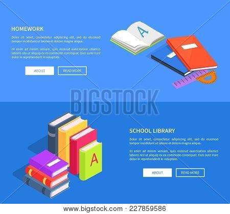 Homework School Library Vector Web Posters With Open Book, Textbooks With Place For Text. Copybooks