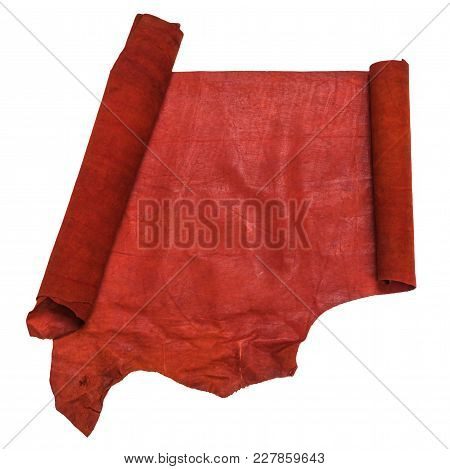 Unrolled Scroll From Red Leather Isolated On White Background