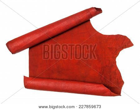 Unrolled Scroll From Red Hide Isolated On White Background