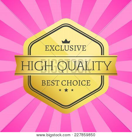 Exclusive High Quality Best Choice Golden Label Isolated On Pink Background With Rays. Gold Stamp Ce