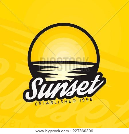 Sunset Logotype  Concept In Modern Style. Sunset Colorful Badge. Colourful Label Of Sunset And Refle