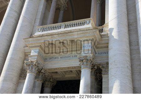 Magnificent Old Beautiful Roman Balcony With Corinthian Columns Of Archbasilica Of St John Lateran
