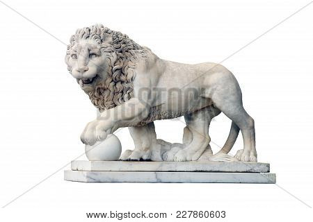Big Old Beautiful White Marble Statuary Of Lion With Ball Isolated On White Background