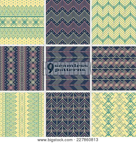 Set Of Seamless Abstract Geometric Patterns. Yellow, Blue, Pink Colors. Ethnic Motifs