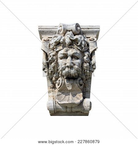 Medieval Roman Stone Sculpture  In Form Of Lion Head With His Tongue Hanging Out  Isolated On White