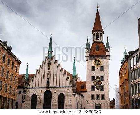Town Hall On Marienplatz In Munich, Bavaria Germany
