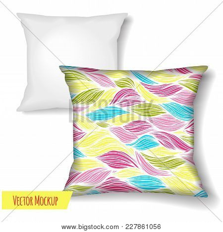 Square Pillow. Design Template Isolated On White Background For Your Design