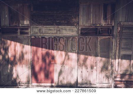 Old Wood Window. Grunge Door. Weathered Barn Board Texture Background